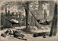 Red Cross workers sleeping in hammocks during the Serbo-Turk Wellcome V0015326.jpg