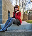 Red jacket and dotted opaque tights.jpg