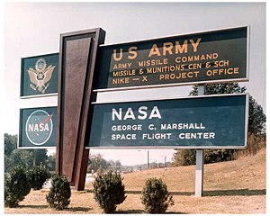 The sign at the main gate at the Redstone Arsenal