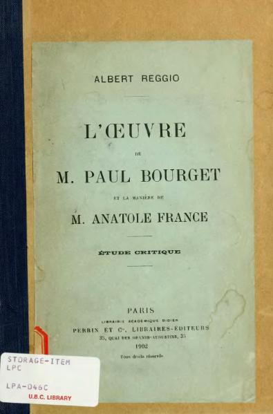 File:Reggio - L'Œuvre de M. Paul Bourget et la Manière de M. Anatole France, 1902.djvu