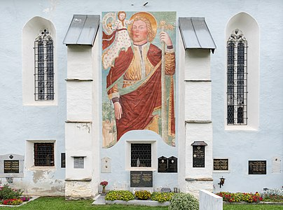 Fresco of Saint Christopher at the Roman Catholic parish church Saint Margaret, Reichenau, Carinthia, Austria