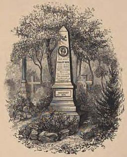 Grave of Reis at Friedrichsdorf -- from Philipp Reis: Inventor of the Telephone by Silvanus Thompson (1883) Reis Philipp grave.jpg