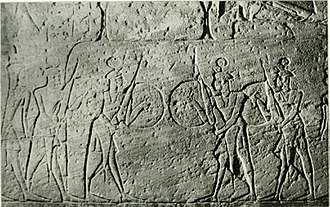 Sherden - Members of Ramesses II's Sherden personal guard in a relief in Abu Simbel.