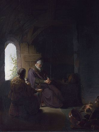 Philosopher in Meditation - Anna and the Blind Tobit by Rembrandt and Dou (1630)