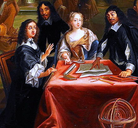 Rene Descartes (right) with Queen Christina of Sweden (left) Rene Descartes i samtal med Sveriges drottning, Kristina.jpg