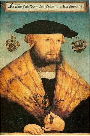 Leonhart Fuchs - Portrait of Fuchs, by Heinrich Füllmaurer, Tübingen, 1541