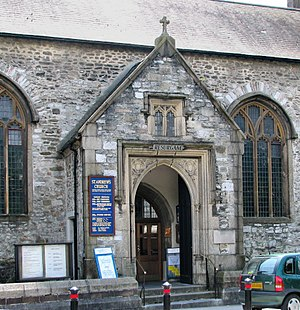 St Andrew's Church, Plymouth - Image: Resurgam door