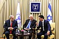 Reuven Rivlin, Benjamin Netanyahu and Yossi Cohen award certificates of excellence to 13 outstanding Mossad employees for 2017, December 2017 (O902).JPG