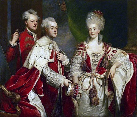 An Earl, wearing crimson robe and surcoat over court dress and holding his coronet, and Countess, wearing crimson robe and kirtle over a court dress and wearing her coronet (1780). From a portrait of George, 2nd Earl Harcourt by Sir Joshua Reynolds. Reynolds - George, 2nd Earl Harcourt, his wife Elizabeth, and brother William.jpg