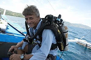 Pyle stop - Richard L. Pyle On Boat in Philippines, with Poseidon SE7EN Rebreather. The photo was taken during a joint expedition with Bishop Museum and the California Academy of Sciences to survey Mesophotic Coral Ecosystems, May 2014.
