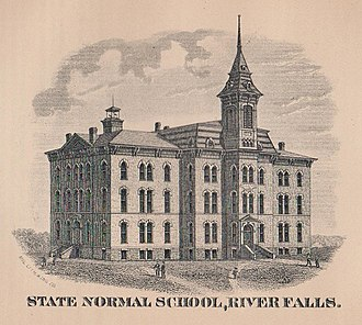University of Wisconsin–River Falls - The original Normal Hall (renamed South Hall), as it appeared before it was destroyed by fire in 1897.