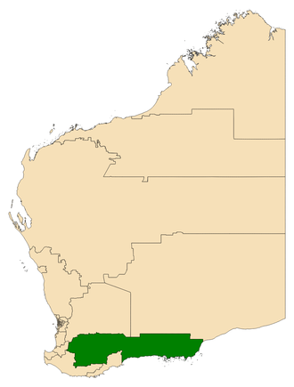 Electoral district of Roe - Location of Roe (dark green) in Western Australia