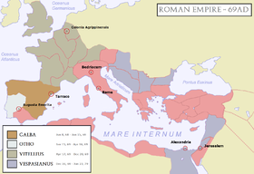 Map of the Roman Empire during the Year of the Four Emperors (69 AD). Blue areas indicate provinces loyal to Vespasian and Gaius Licinius Mucianus.