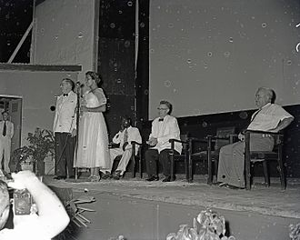 Jedda - Rosalie Kunoth-Monks, speaking at the Darwin premiere of Jedda at the Star Theatre in Darwin, Northern Territory in 1955.