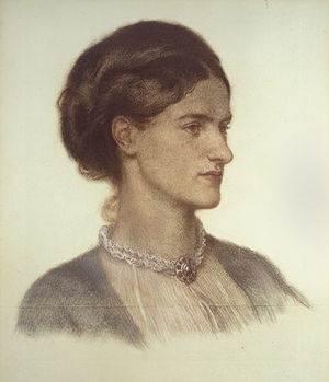 Rosalind Howard, Countess of Carlisle - Dante Gabriel Rossetti's depiction of Howard on grey-green paper in 1870