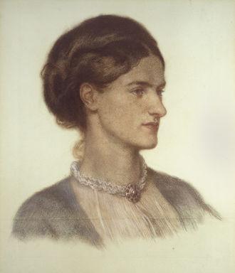 Rosalind Howard, Countess of Carlisle - Dante Gabriel Rossetti's depiction of Howard on grey-green paper in 1870