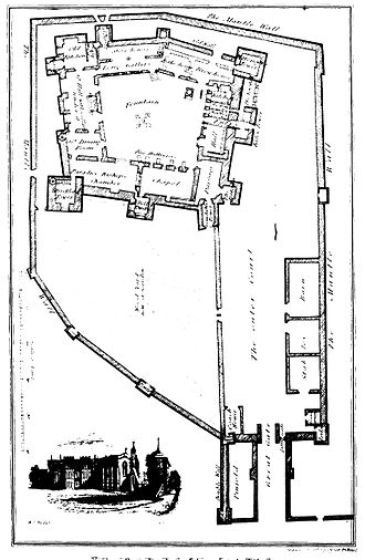 Rose Castle - Plan of the old castle, from Samuel Jefferson, History and Antiquities of Carlisle (1838), placed after p. 376.