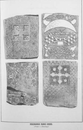 Rosemarkie Stone - Illustration from Angus J Beaton's Illustrated Guide to Fortrose and Vicinity, with an appendix on the Antiquities of the Black Isle, published in Inverness in 1885.