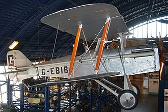 Skywriting - G-EBIB, one of the S.E.5 former fighter aircraft used for skywriting by Major Jack Savage's company between 1922 and 1934. Science Museum, London, June 2015