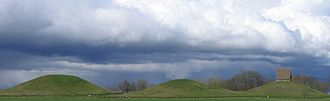 "Gamla Uppsala - The three large ""royal mounds"" at Gamla Uppsala."