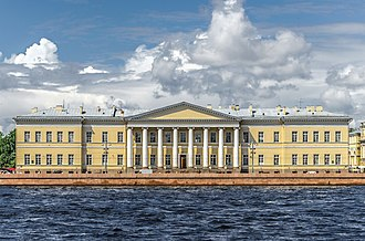 Russian Academy of Sciences - The building of the Imperial Academy of Sciences in Saint Petersburg on Universitetskaya Embankment