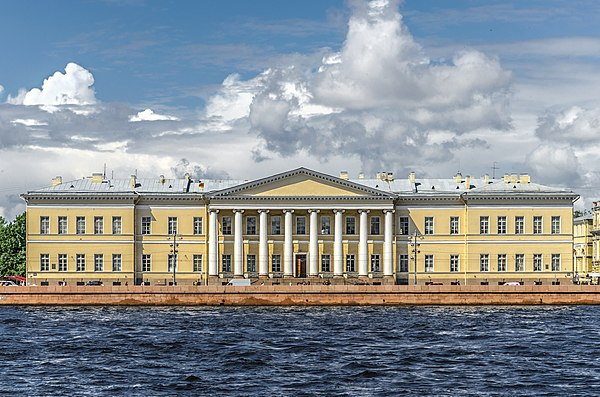 The building of the Imperial Academy of Sciences in Saint Petersburg on Universitetskaya Embankment Russian Academy of Sciences SPB.jpg