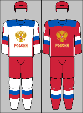Russia men's national ice hockey team - Image: Russian national team jerseys 2016 (WCH)