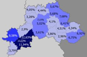 Russians in Mahilioŭskaja voblasć, Belarus (2009 census)