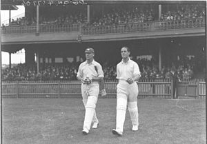 Herbert Sutcliffe - Jack Hobbs (left) and Herbert Sutcliffe at the Sydney Cricket Ground.