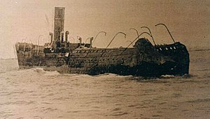 Ramón Acha Caamaño - The burned out hulk of the SS Antonio Lopez