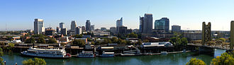 Downtown Sacramento - View of Downtown. Visage point is looking east from West Sacramento.