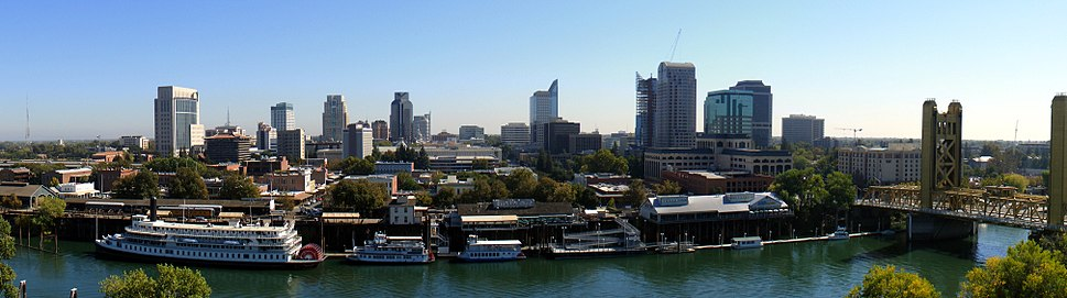 Panoramic view of downtown Sacramento from West Sacramento