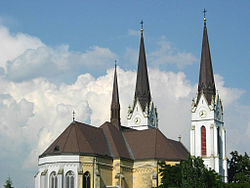Sacred Heart Catholic Church (west view) in Futog, Vojvodina, Serbia - 20060602.jpg