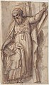 Saint Andrew, Apostle, with Transverse Cross, Book, and Fish, verso- Architectural sketch in red chalk MET 17.236.28 RECTO.jpg