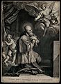 Saint Francis of Sales kneeling; angels and cupids emerging Wellcome V0032007.jpg