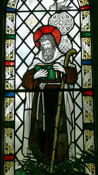 Brynach - Our Lady and Saint Non's chapel ( St Davids, Wales ). Stained glass window ( 1934 ) showing Saint Brynach.