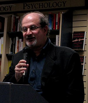 "Salman Rushdie presenting his book ""Shali..."