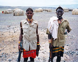 Samburu people - Samburu warriors near Lake Turkana.