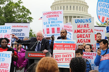 Sanders introduced legislation to raise the federal minimum wage to $15 an hour, April 2017 Sanders Introduces $15 Minimum Wage.jpg
