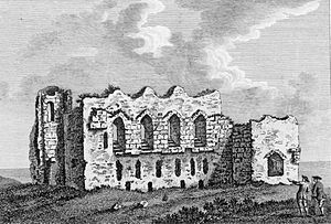 Sandsfoot Castle - Engraving of the castle in 1756, showing the entrance gate-tower (left), the residential block (centre) and the gun platform (right)