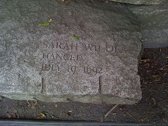 Sarah Wildes - This is the memorial bench for Sarah Wildes at the Salem Witch Trials Memorial Park in Salem.