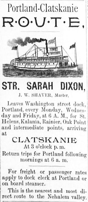 Sarah Dixon (sternwheeler) - Advertisement for Sarah Dixon on Clatskanie route, April 28, 1893.