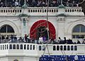 Sasha and Malia Obama entering inaugural platform; 2013 US Presidential Inauguration.JPG