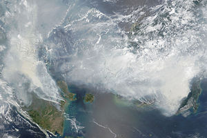 Deforestation in Borneo - A NASA satellite image showing the extent of 2015 Southeast Asian haze on 24 September 2015.