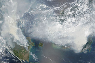 Satellite photograph of the haze above Borneo and Sumatra on 24 September 2015. Satellite image of 2015 Southeast Asian haze - 20150924.jpg