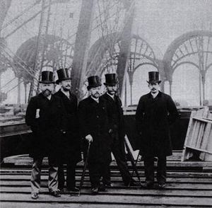 Stephen Sauvestre - The project team of the Eiffel Tower. Stephen Sauvestre is left, center Gustave Eiffel.