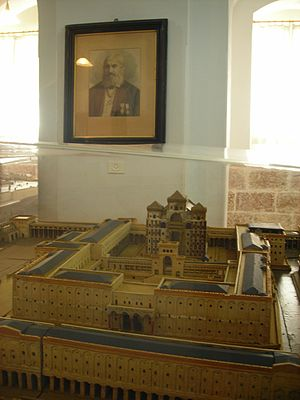 Replicas of the Jewish Temple - Portrait of Schick and his model of the Jewish temple
