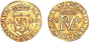Mary, Queen of Scots - Gold coin of 1553: obverse, coat of arms of Scotland; reverse, royal monogram