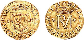 Gold coin of 1553: obverse, coat of arms of Scotland; reverse, royal monogram Scottish 22 shillings coin 1553.jpg