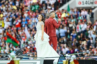 2018 FIFA World Cup opening ceremony - British pop singer Robbie Williams and Russian soprano Aida Garifullina performing on stage at the opening ceremony.